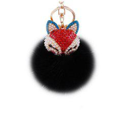 Anple Real Rabbit Fur Ball with Artificial Fox Head Inlay Pearl Rhinestone Key Chain for Womens Bag or Cellphone -