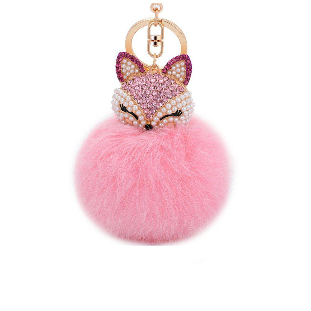 Shops Anple Real Rabbit Fur Ball with Artificial Fox Head Inlay Pearl Rhinestone Key Chain for Womens Bag or Cellphone