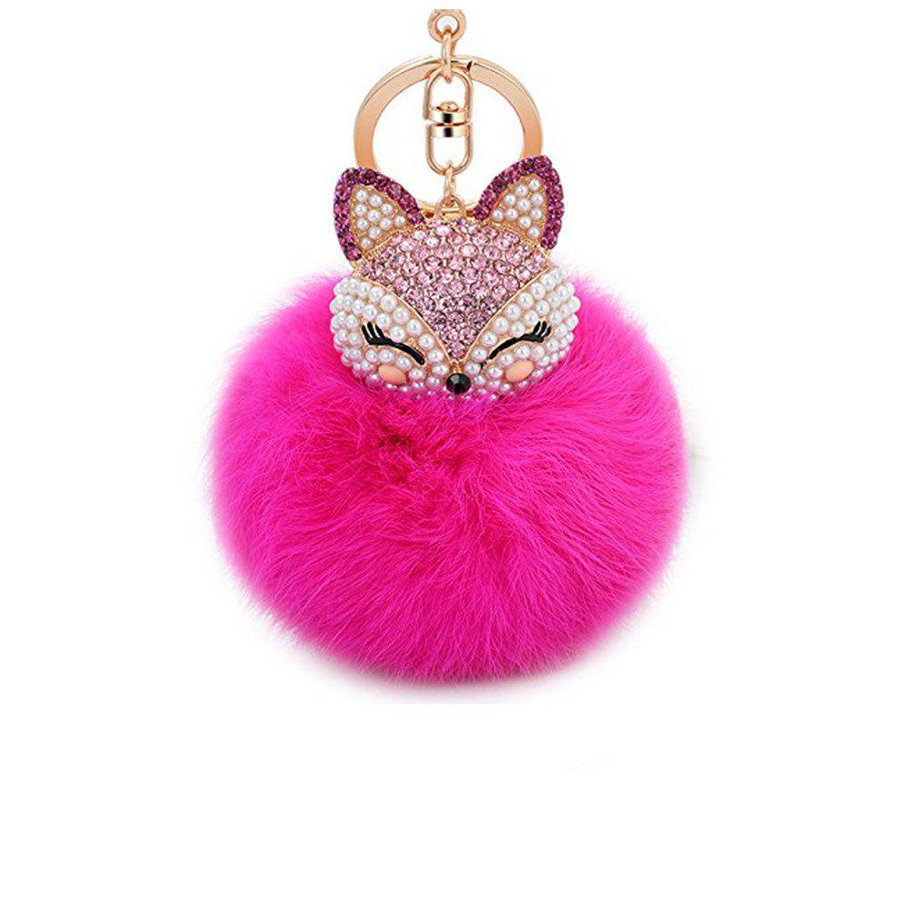 Outfit Anple Real Rabbit Fur Ball with Artificial Fox Head Inlay Pearl Rhinestone Key Chain for Womens Bag or Cellphone