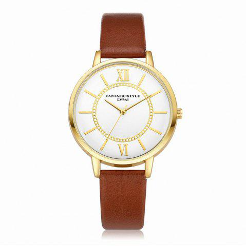 Discount Lvpai P092-G Women Fashion Golden Bezel Leather Strap Wrist Watch