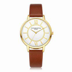 Lvpai P092-G Women Fashion Golden Bezel Leather Strap Wrist Watch -