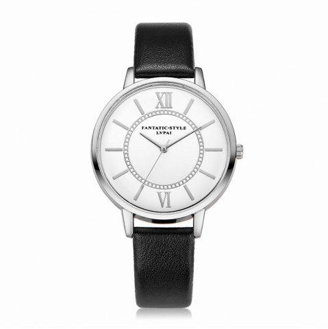 Outfits Lvpai P092-S Women Fashion Silver Tone Bezel Leather Band Wrist Watches