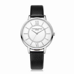 Lvpai P092-S Women Fashion Silver Tone Bezel Leather Band Wrist Watches -