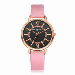 Lvpai P094-R Women Leather Strap Black Dial Quartz Watches -