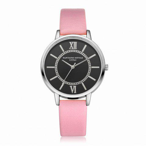 Unique Lvpai P094-S Women Fashion Leather Band Black Dial Wrist Watches
