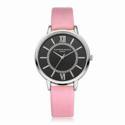 Lvpai P094-S Women Fashion Leather Band Black Dial Wrist Watches -
