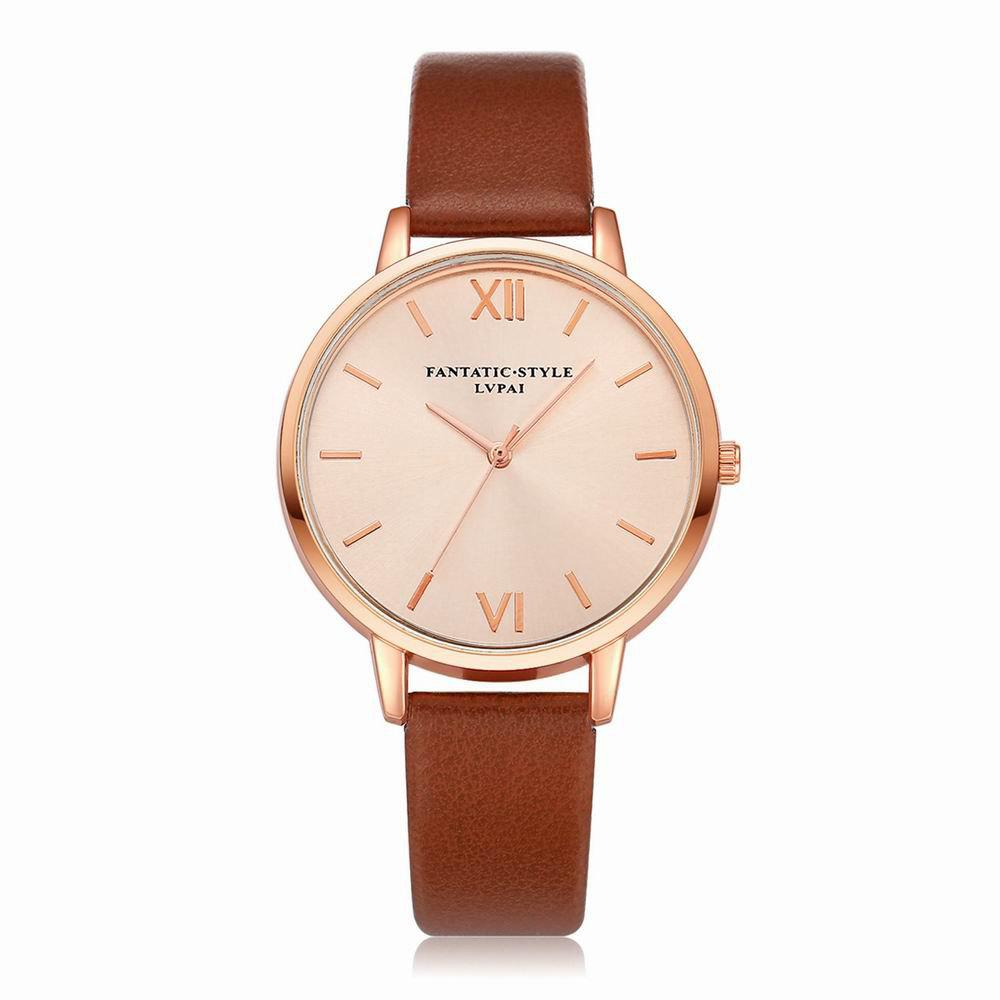Chic Lvpai P095-R Women Rose Gold Tone Leather Band Wrist Watches
