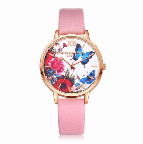 Chic Lvpai P096-R Women Butterfly Flowers Dial Leather Band Wrist Watch