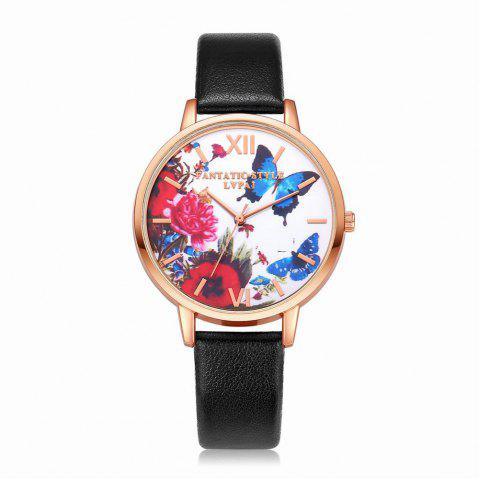 Latest Lvpai P096-R Women Butterfly Flowers Dial Leather Band Wrist Watch