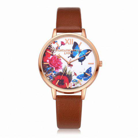 Fashion Lvpai P096-R Women Butterfly Flowers Dial Leather Band Wrist Watch