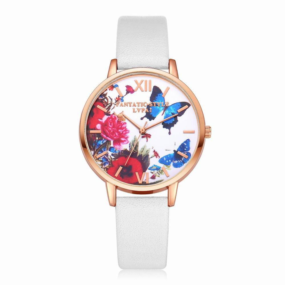Outfit Lvpai P096-R Women Butterfly Flowers Dial Leather Band Wrist Watch