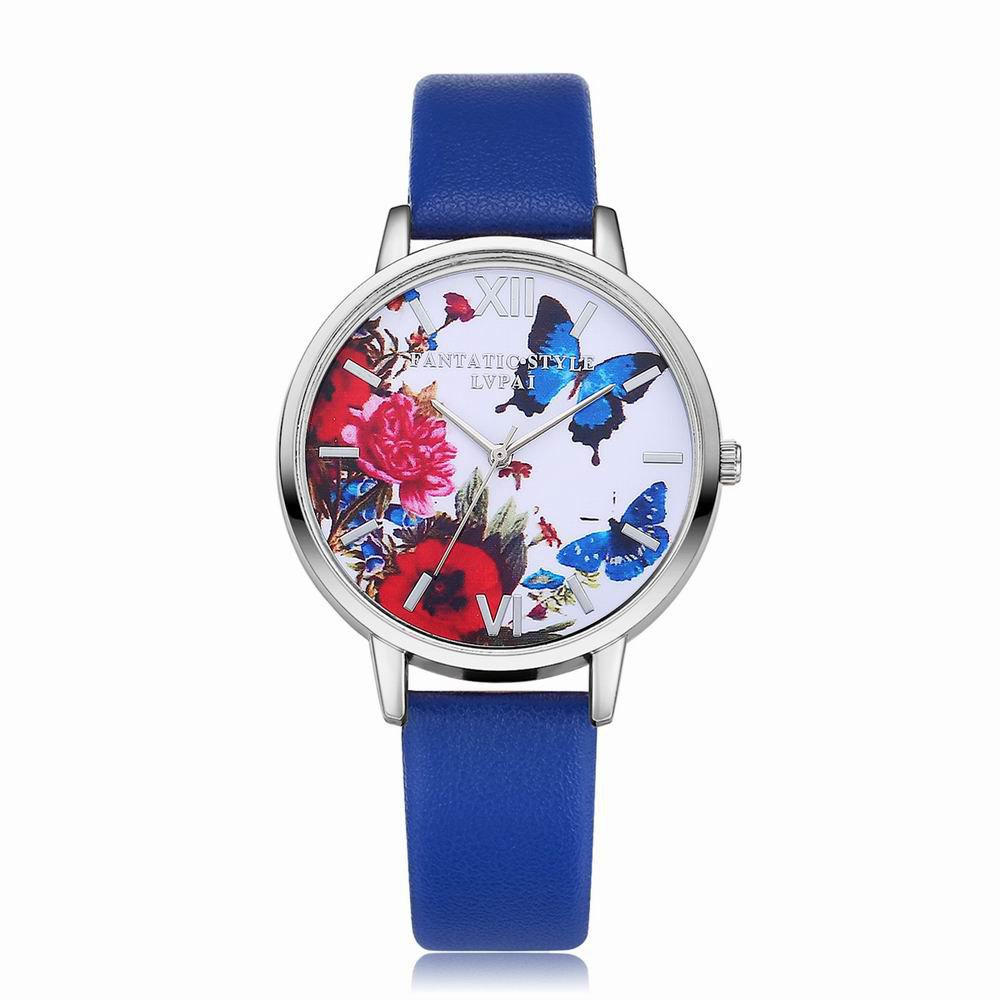 Hot Lvpai P096-S Women Butterfly Flowers Dial Leather Band Wrist Watch