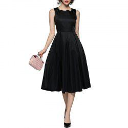 Square Neck Little Black Fashionable Vest Dress -