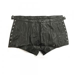 Men's Low Waist Zipper Leather Shorts Punk -
