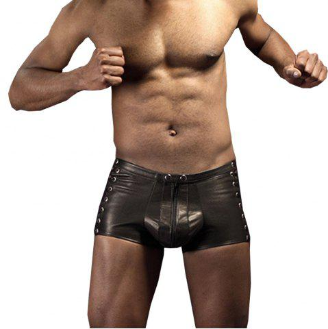 Fancy Men's Low Waist Zipper Leather Shorts Punk