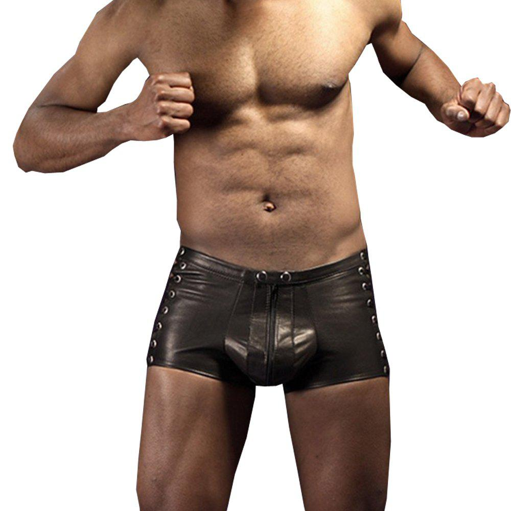 Buy Men's Low Waist Zipper Leather Shorts Punk