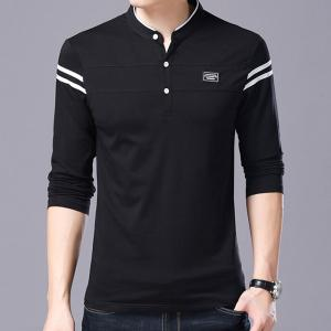 Men Cotton Stand Collar Long Sleeved Casual T-Shirts -