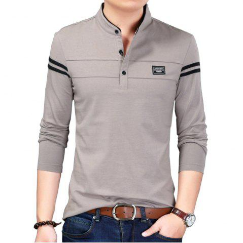 Cheap Men Cotton Stand Collar Long Sleeved Casual T-Shirts