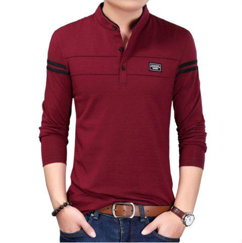 Online Men Cotton Stand Collar Long Sleeved Casual T-Shirts