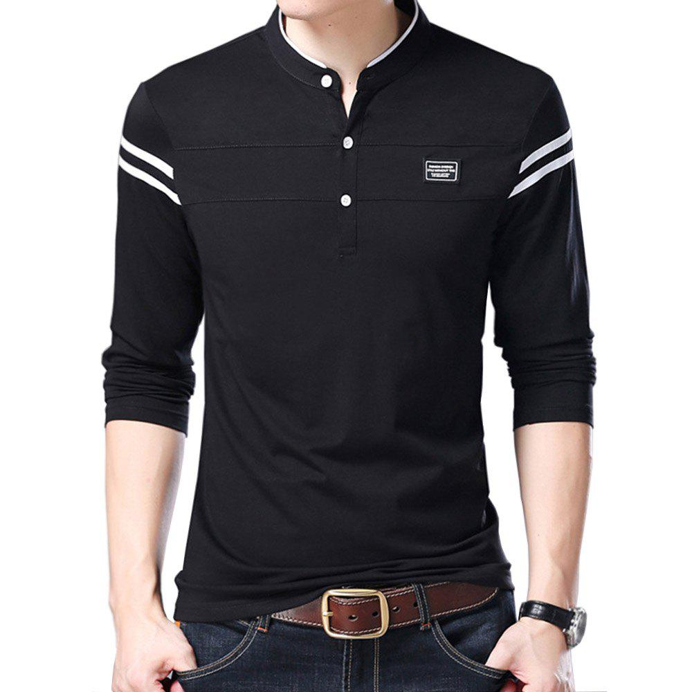 Affordable Men Cotton Stand Collar Long Sleeved Casual T-Shirts