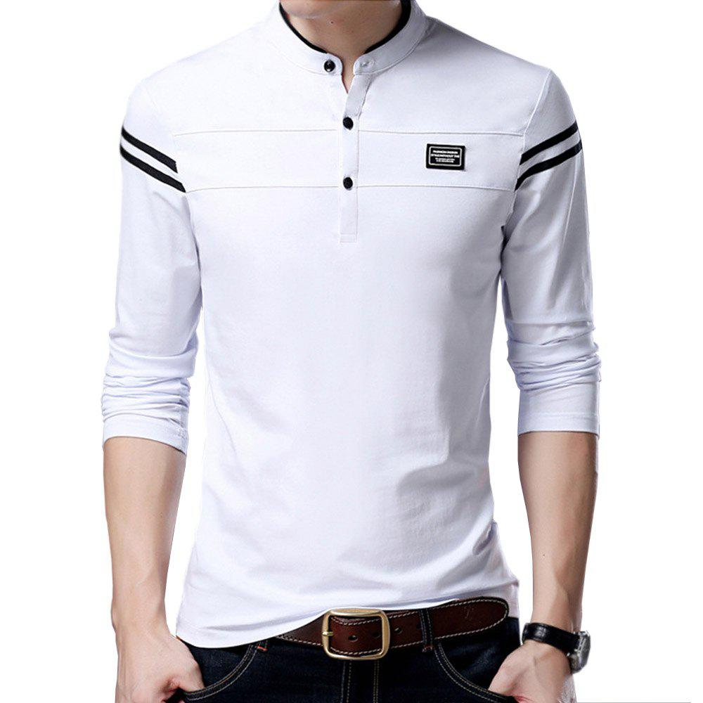 Outfits Men Cotton Stand Collar Long Sleeved Casual T-Shirts