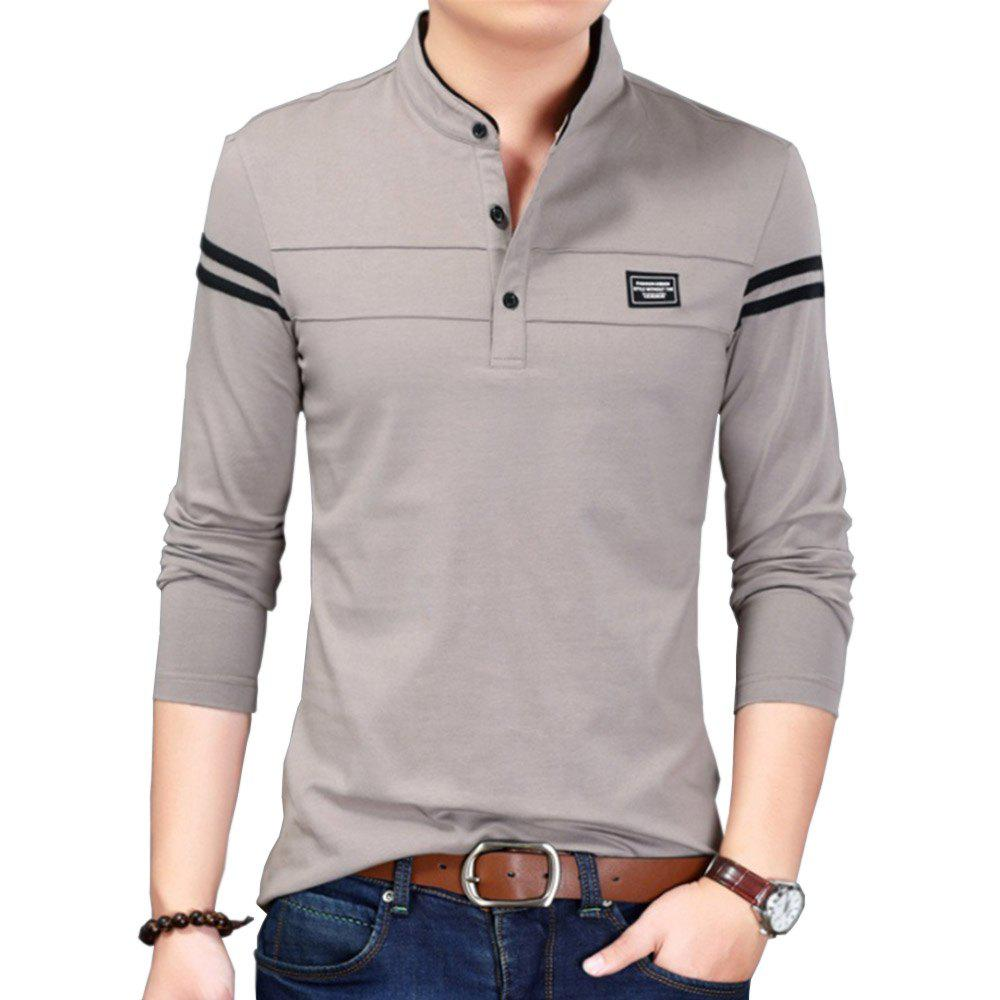 Discount Men Cotton Stand Collar Long Sleeved Casual T-Shirts