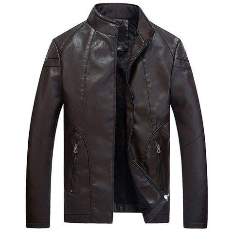 Online Faux Leather Thicken Warm Pu Leather Coats