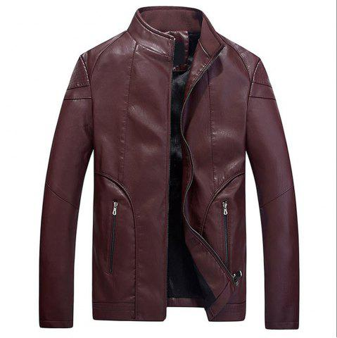 Hot Faux Leather Thicken Warm Pu Leather Coats