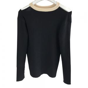 Fake Two Piece Dew Shoulder Cultivate  Render Ice Silk Knitted  Pullovers -