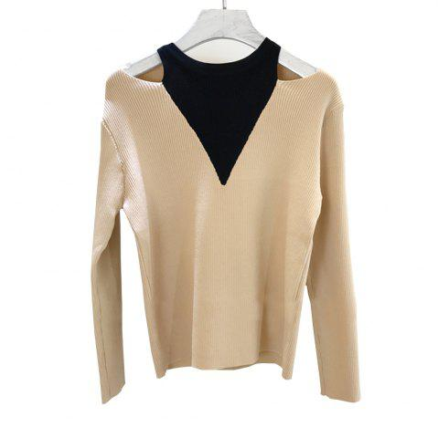 Discount Fake Two Piece Dew Shoulder Cultivate  Render Ice Silk Knitted  Pullovers