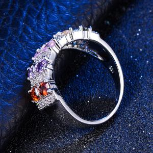 Women's 925 Sterling Silver Ring Oval Cut Fire Opal Diamond Jewelry Birthday Proposal Gift Bridal Engagement Party Band -