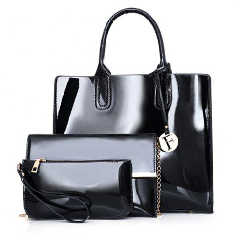 Fancy Patent Leather Handbags Fashion Shoulder Messenger Three-Piece Bright Bag