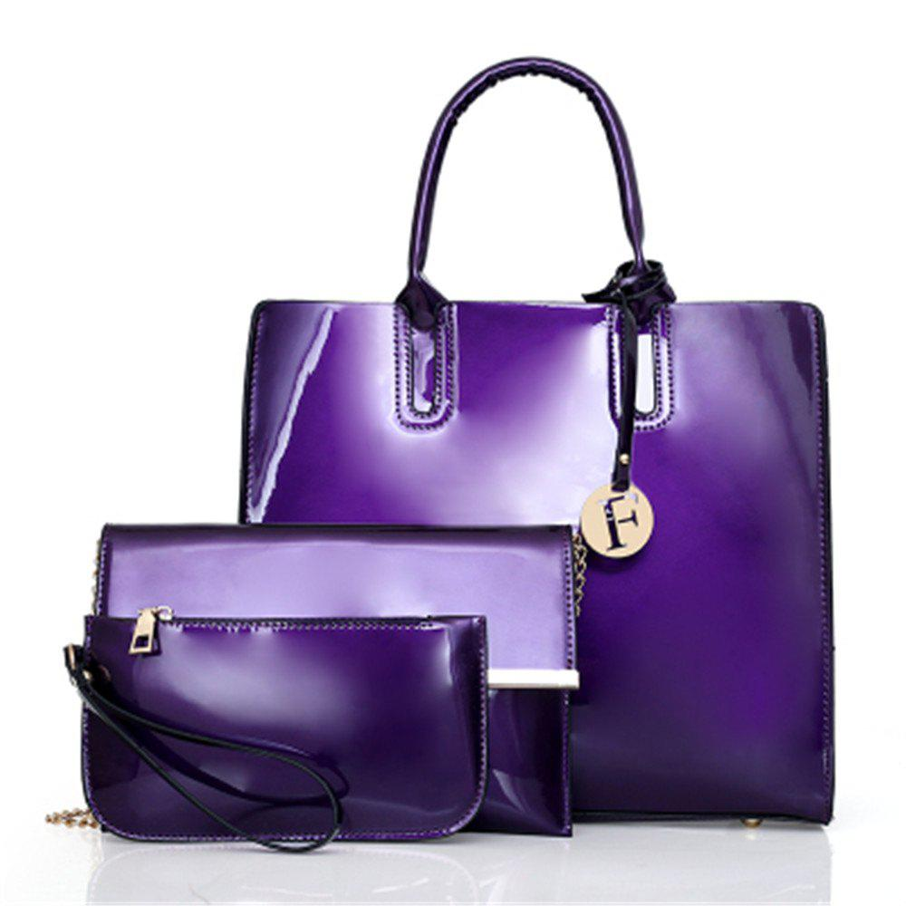 Outfits Patent Leather Handbags Fashion Shoulder Messenger Three-Piece Bright Bag