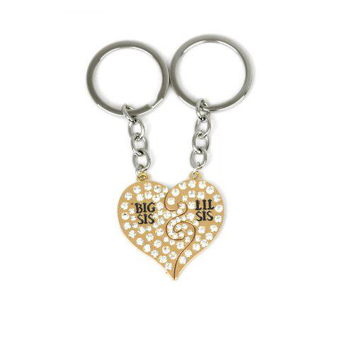 Outfit Diamond Studded Sister Heart Key Ring