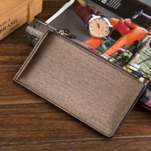 Korean Style Multi-Function Trifold PU Leather Long Wallet Double Zips Credit Card Holder -
