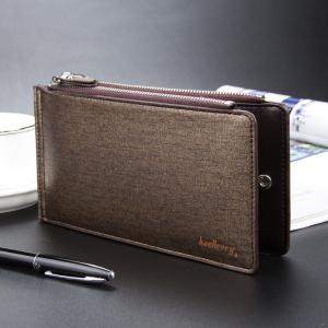 Baellerry Korean Style Multi-Function Trifold PU Leather Long Wallet Double Zips Credit Card Holder -