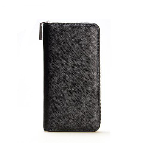 Trendy Korean Style long Zip PU Leather Bussiness Wallet Credit Card Holder