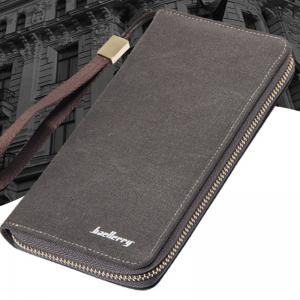 Baellerry Vintage Long Canvas Zipper Wallet Creative Credit Card Holder -