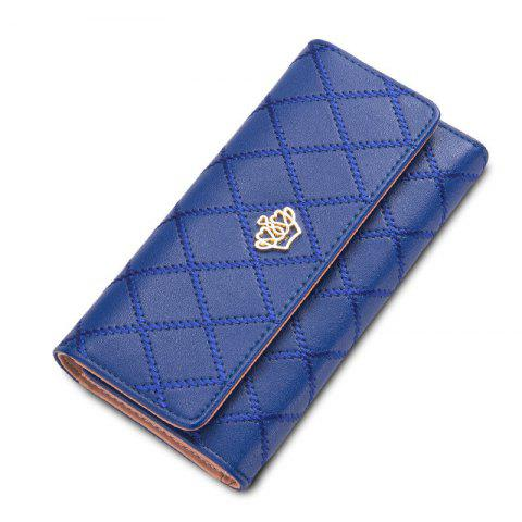 New Long Trifold Plaid Crown Purse Embroidered Hand Bag Credit Card Holder