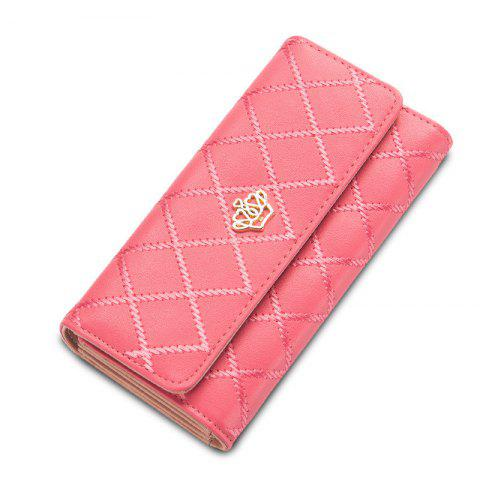 Outfit Long Trifold Plaid Crown Purse Embroidered Hand Bag Credit Card Holder