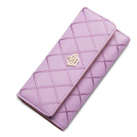 New Baellerry Long Trifold Plaid Crown Purse Embroidered Hand Bag Credit Card Holder