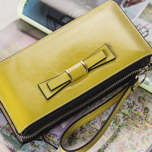 Women's Long Large Capacity Bowknot Purse Hand Bag Mobile Phone Package -