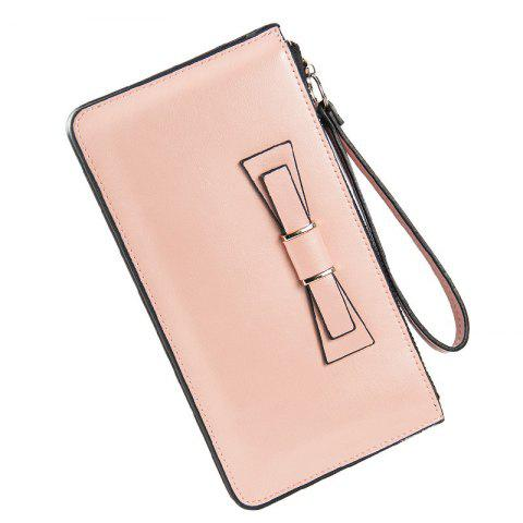 Chic Women's Long Large Capacity Bowknot Purse Hand Bag Mobile Phone Package
