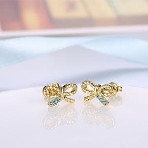 Cute Gold Plated Bowknot Zircon Stud Earrings Graceful Jewelry -