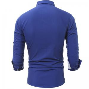 Spring and Autumn New Patch Pocket Trim Men Casual Slim Long-Sleeved Shirt -