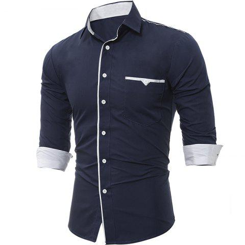 Outfit Spring and Autumn New Patch Pocket Trim Men Casual Slim Long-Sleeved Shirt