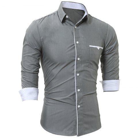 Store Spring and Autumn New Patch Pocket Trim Men Casual Slim Long-Sleeved Shirt