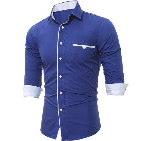 New Spring and Autumn New Patch Pocket Trim Men Casual Slim Long-Sleeved Shirt
