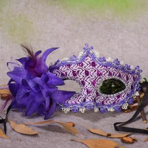 Lace Diamond Sequins Lily Princess Lace Halloween Party Feather Mask -