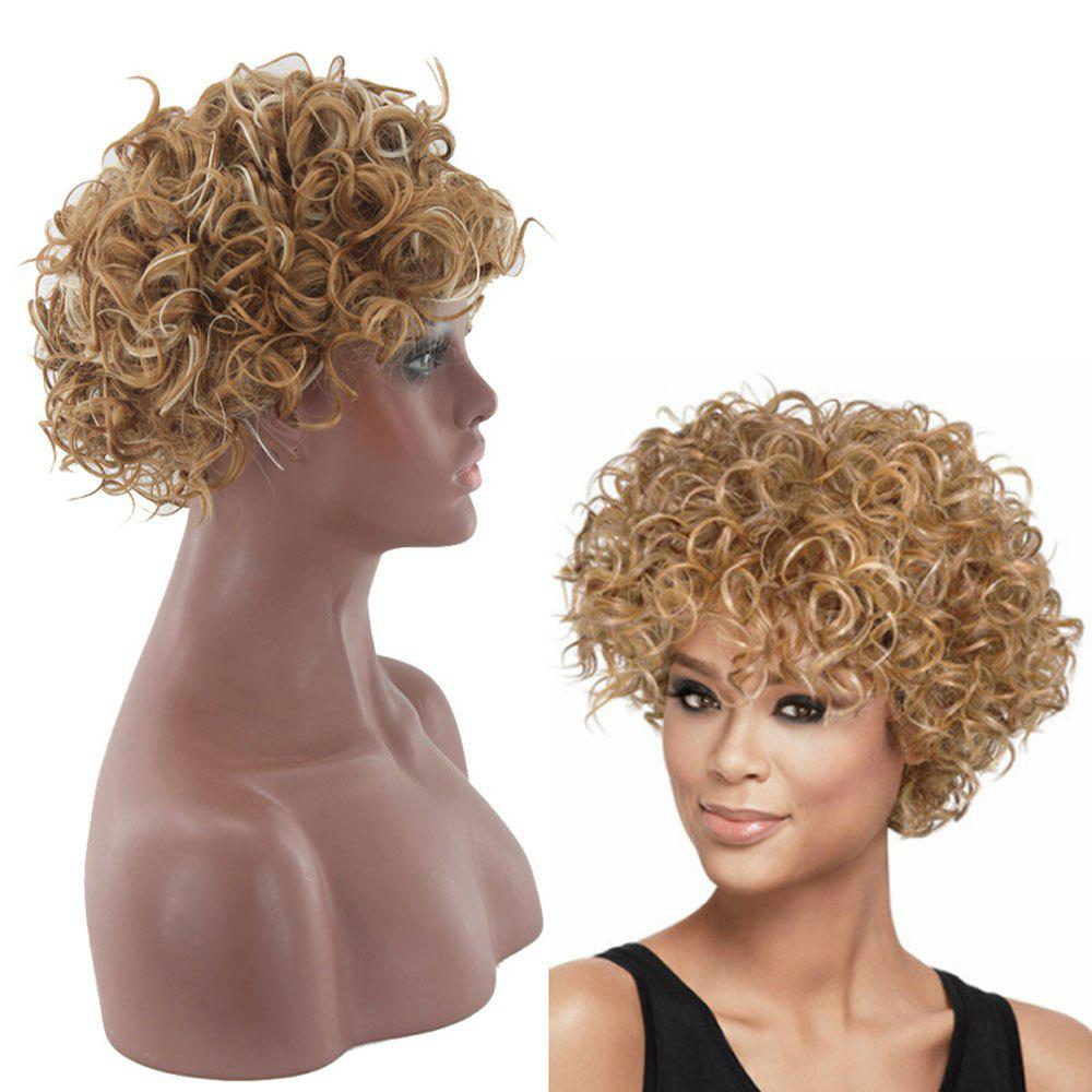 Store Lady Small Volume Golden Explosion Head Short Hair Wig